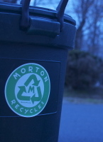Trash and recycling cans should only be placed curbside the morning of or  evening prior to collection. All Cans should be securely covered.